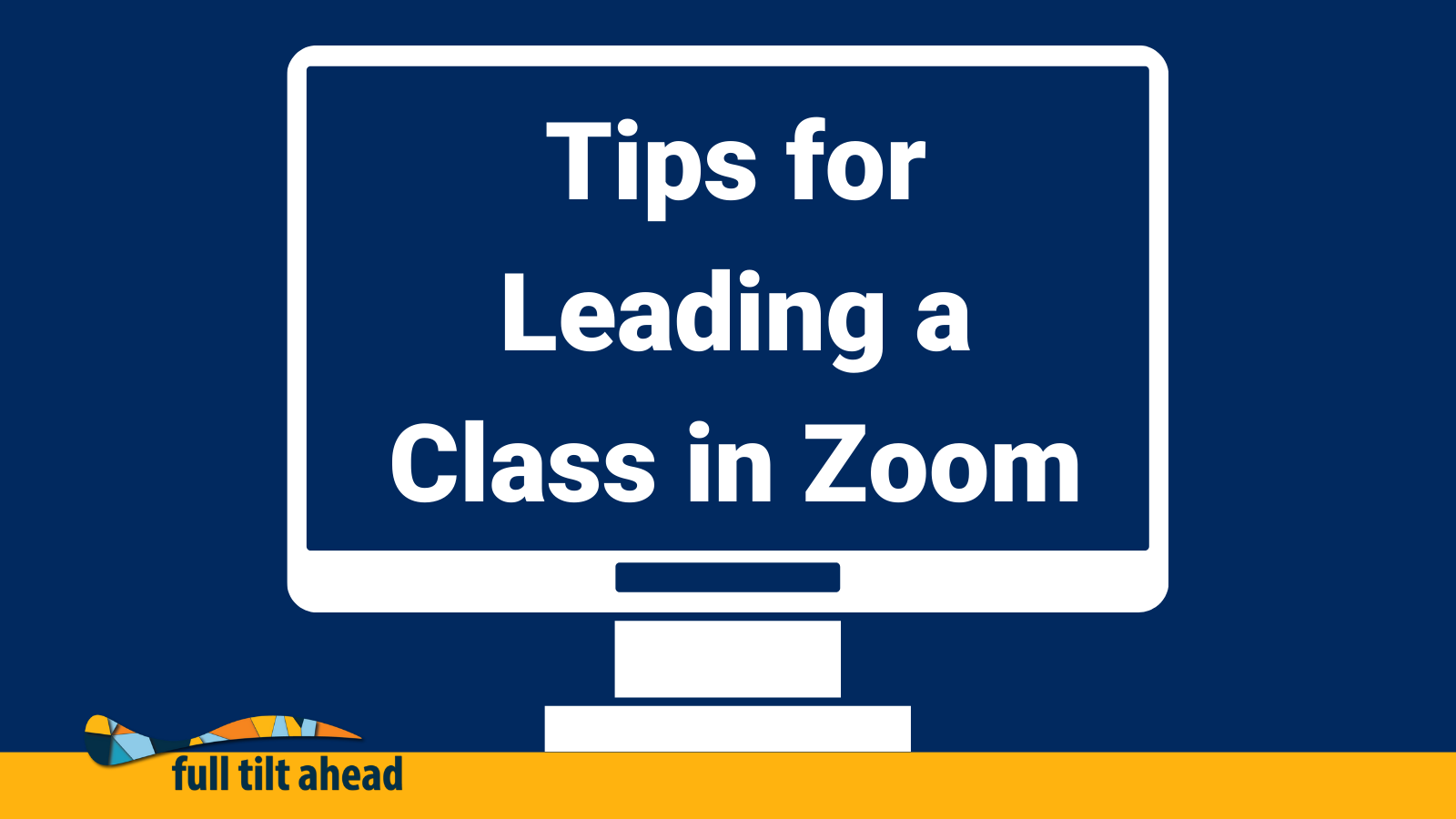 """A computer sits on a table with the words """"Tips for Leading a Class in Zoom"""" on the screen."""