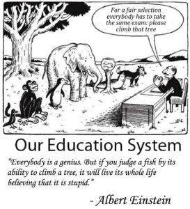 Albert Einstein Quote: Everybody is a genius. But if you judge a fish by its ability to climb a tree, it will live its whole life believing that it is stupid.