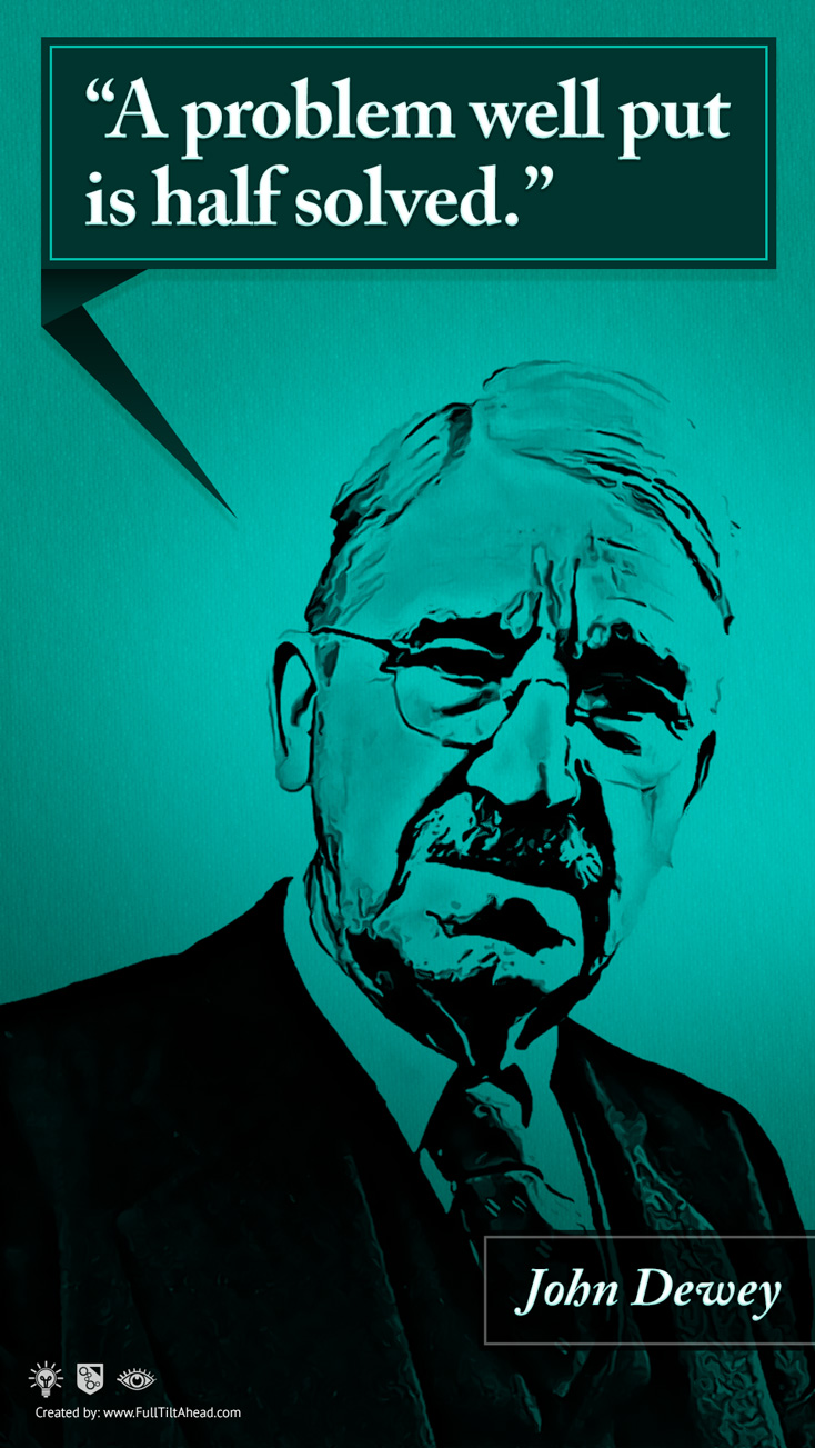 John Dewey : A Problem Well Put is Half Solved.